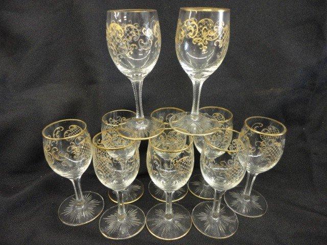 "1055: Cordial Glasses, 10, Gilt Decoration, 3 5/8""H"