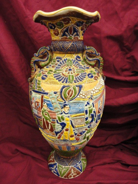 1063: Vase, Satsuma, Oriental Decoration, Heavily Appli