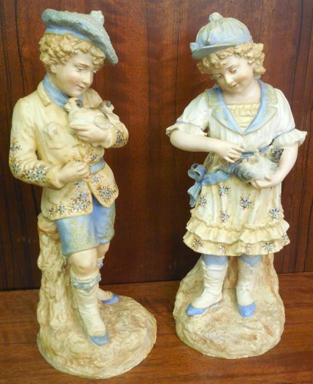 German Bisque Girl And Boy, Pair