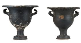 PAIR OF CLASSICAL FORM GLAZED TERRACOTTA URNS