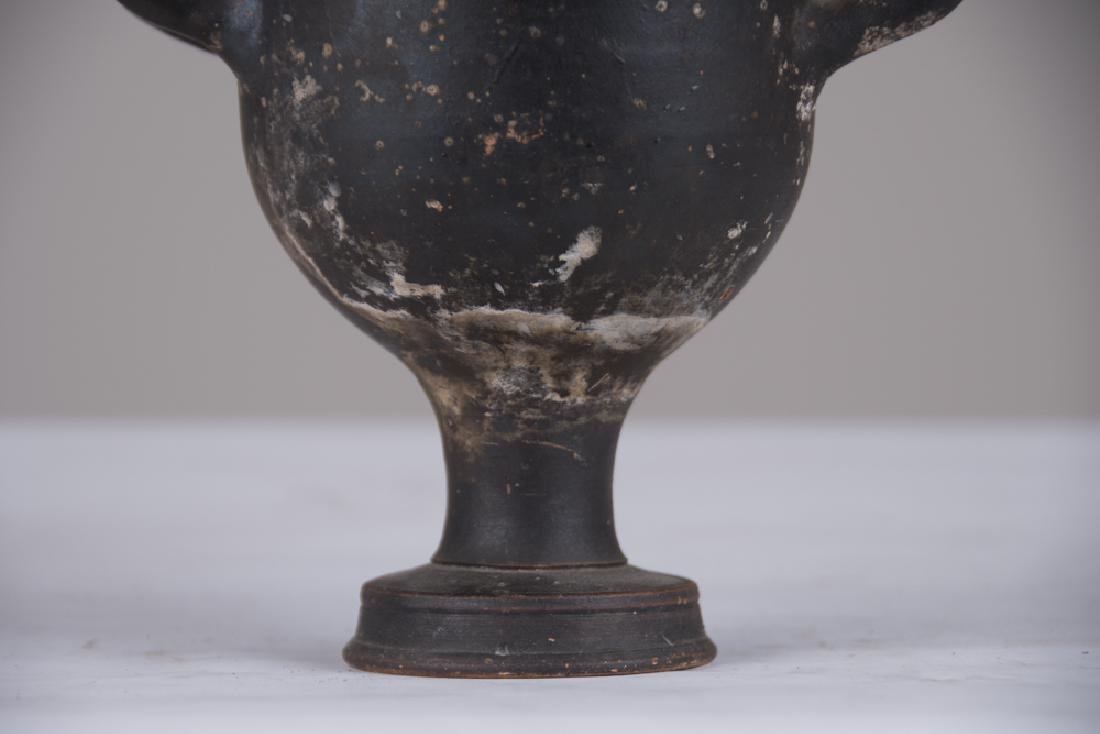 PAIR OF CLASSICAL FORM GLAZED TERRACOTTA URNS - 4