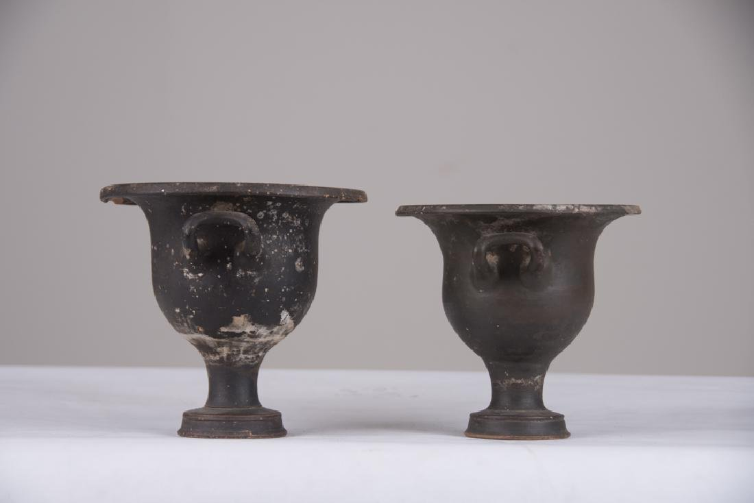 PAIR OF CLASSICAL FORM GLAZED TERRACOTTA URNS - 6