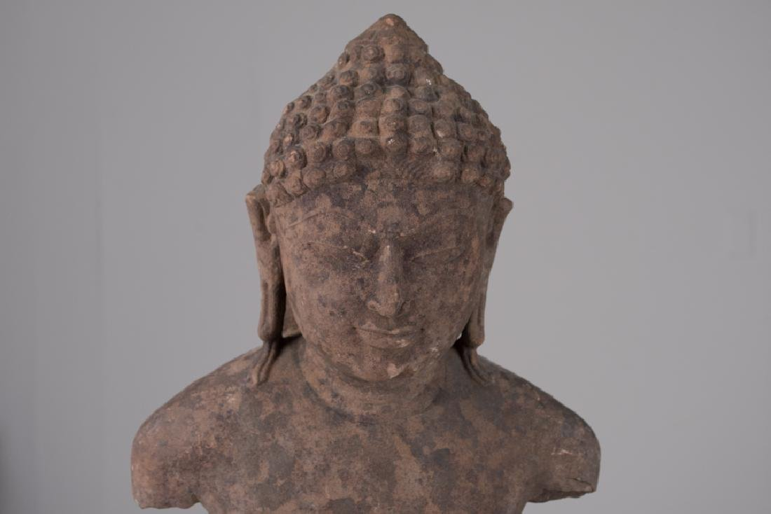 INDIAN SANDSTONE BUST OF BUDDHA - 5