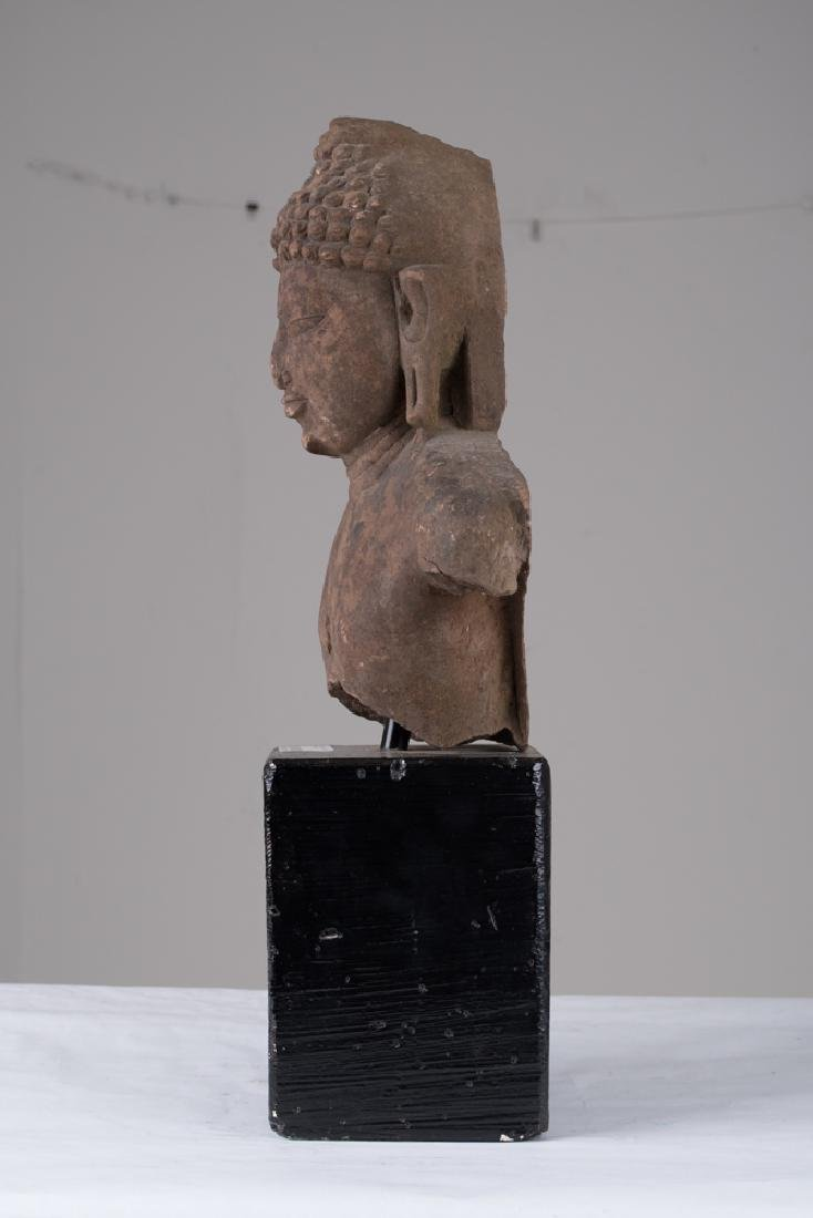 INDIAN SANDSTONE BUST OF BUDDHA - 6