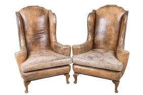 PAIR OF GEORGIAN OAK LEATHER WING CHAIRS