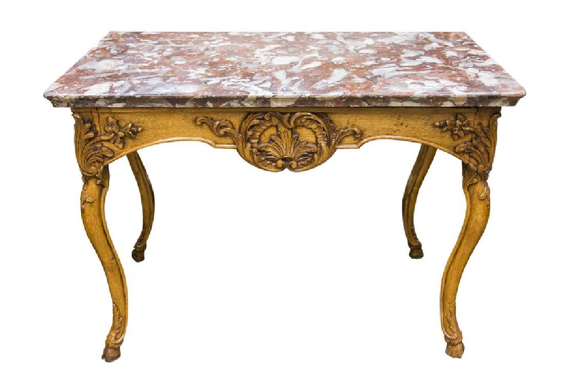 FRENCH OAK MARBLE TOP CONSOLE