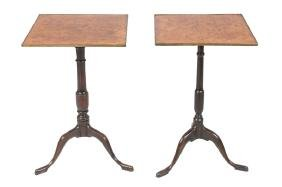 PAIR OF ENGLISH PEDESTAL CANDLESTICK TABLES
