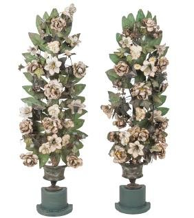 PAIR OF FRENCH TOLE PAINTED CANDELABRA