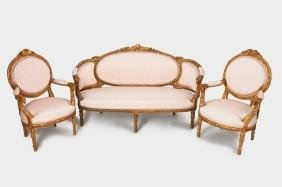 LOUIS XVI STYLE CARVED GILTWOOD SALON SUITE