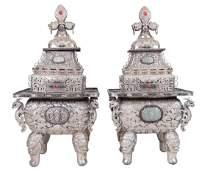 PAIR OF CHINESE SILVERED METAL & SEMI-PRECIOUS STONE