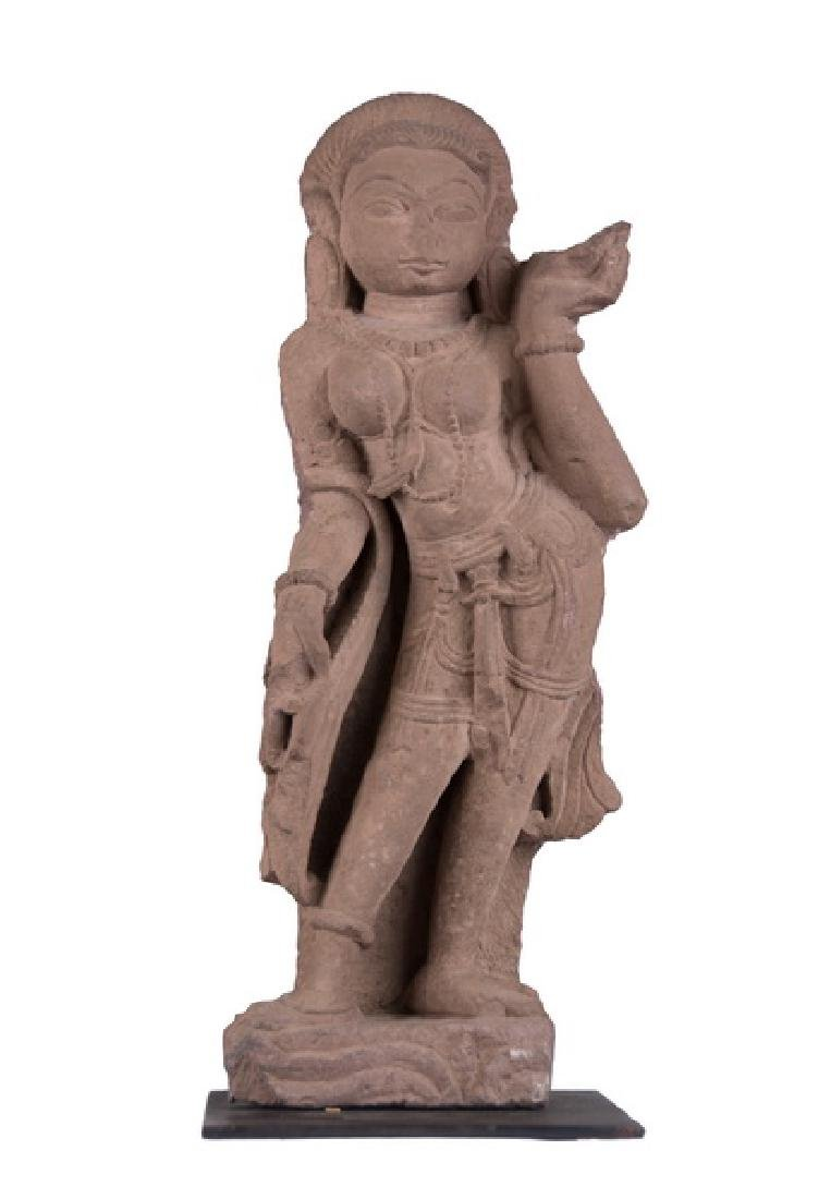 INDIAN RED SANDSTONE FIGURE OF A DEITY
