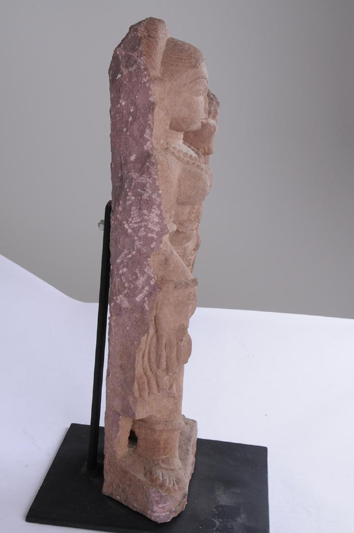 INDIAN RED SANDSTONE FIGURE OF A DEITY - 3
