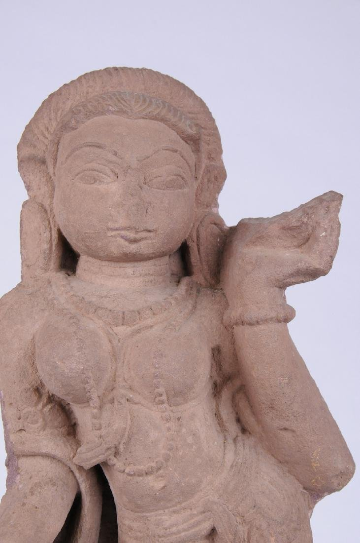 INDIAN RED SANDSTONE FIGURE OF A DEITY - 5