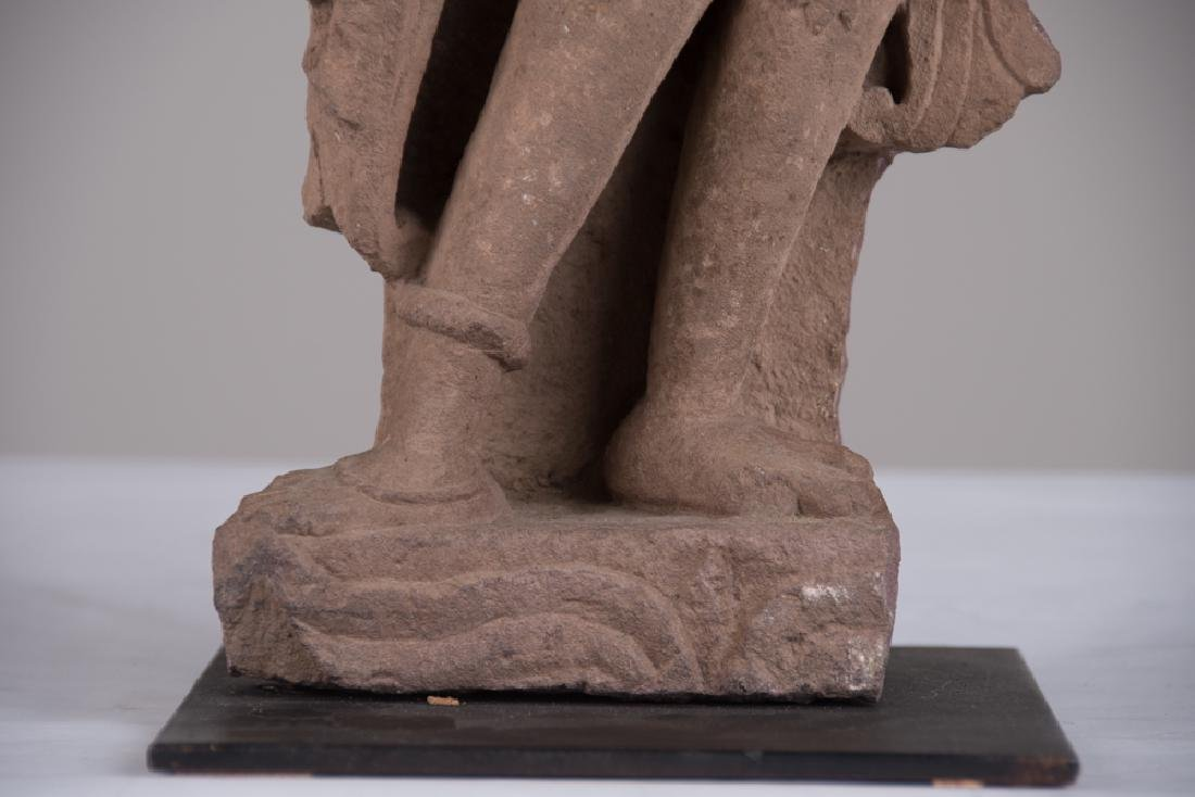 INDIAN RED SANDSTONE FIGURE OF A DEITY - 6