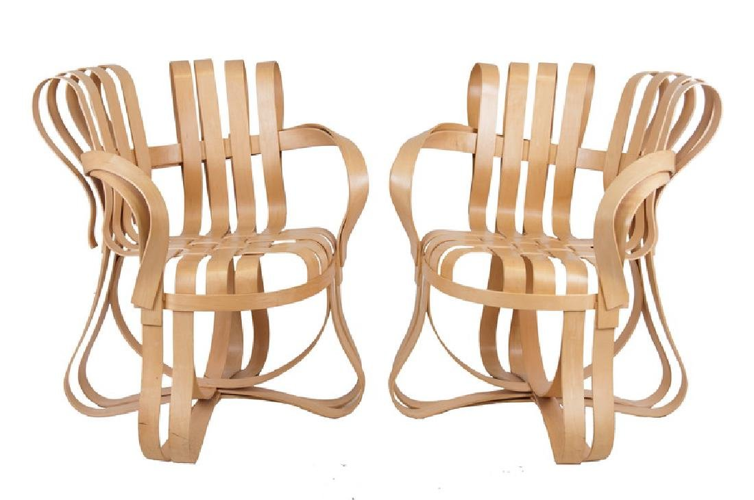 """SEVEN FRANK GEHRY MAPLE """"CROSS CHECK"""" CHAIRS"""