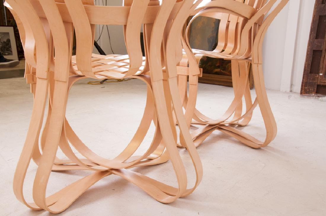"""SEVEN FRANK GEHRY MAPLE """"CROSS CHECK"""" CHAIRS - 5"""