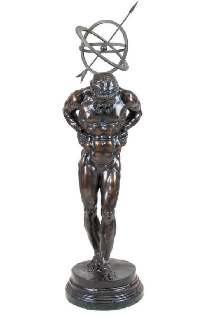 FRENCH BRONZE FIGURE OF ATLAS