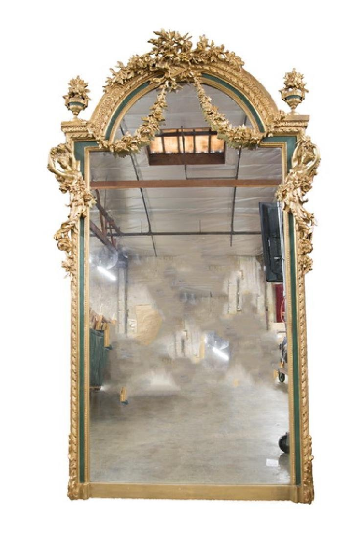 PAINTED & PARCEL GILT WALL MIRROR