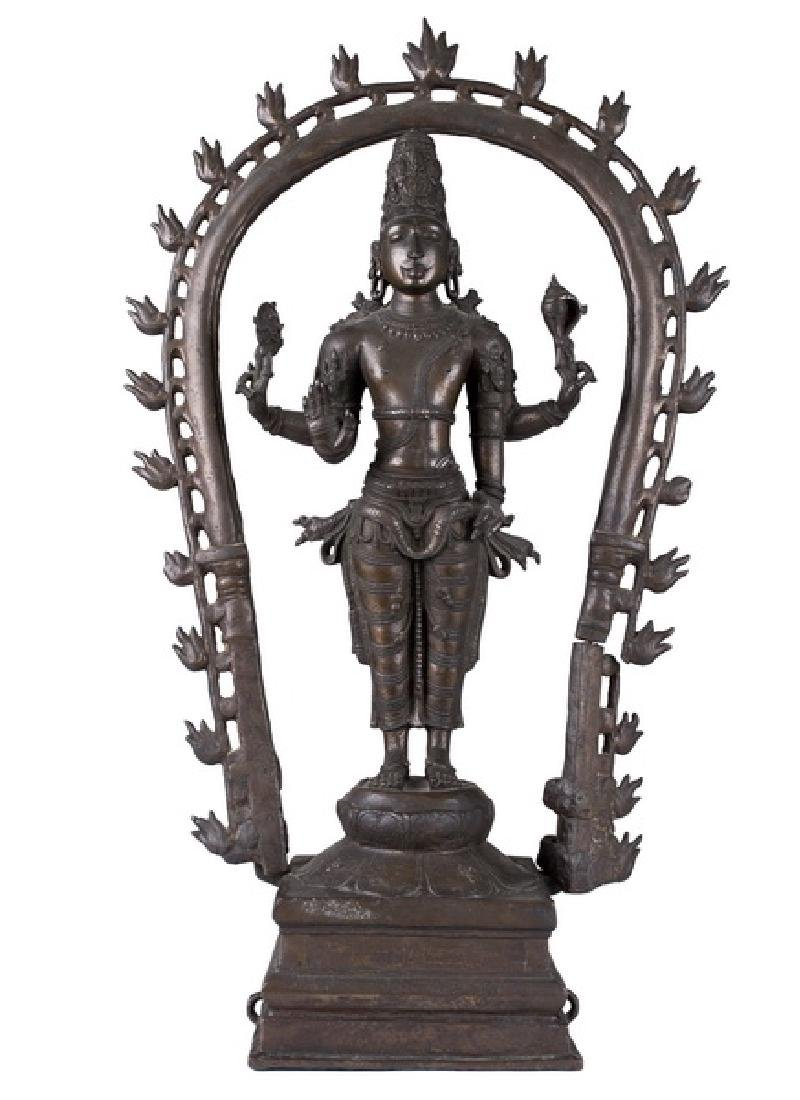 INDIAN BRONZE FIGURE OF VISHNU