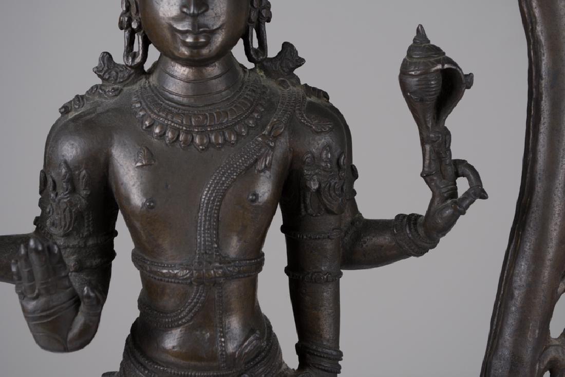 INDIAN BRONZE FIGURE OF VISHNU - 8