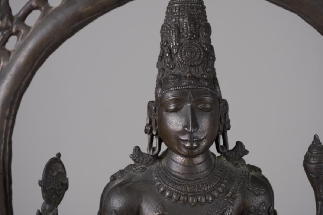 INDIAN BRONZE FIGURE OF VISHNU - 9