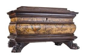 ITALIAN RENAISSANCE STYLE WALNUT & PAINTED TABLE COFFER
