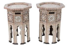 PAIR OF MOORISH INLAID OCTAGONAL TABLES