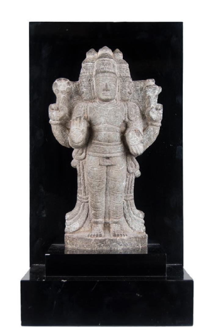 INDIAN CARVED STONE FIGURE OF A DEITY