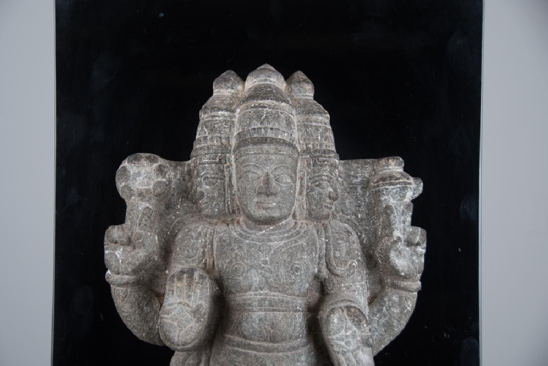 INDIAN CARVED STONE FIGURE OF A DEITY - 2