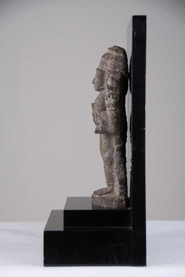 INDIAN CARVED STONE FIGURE OF A DEITY - 3