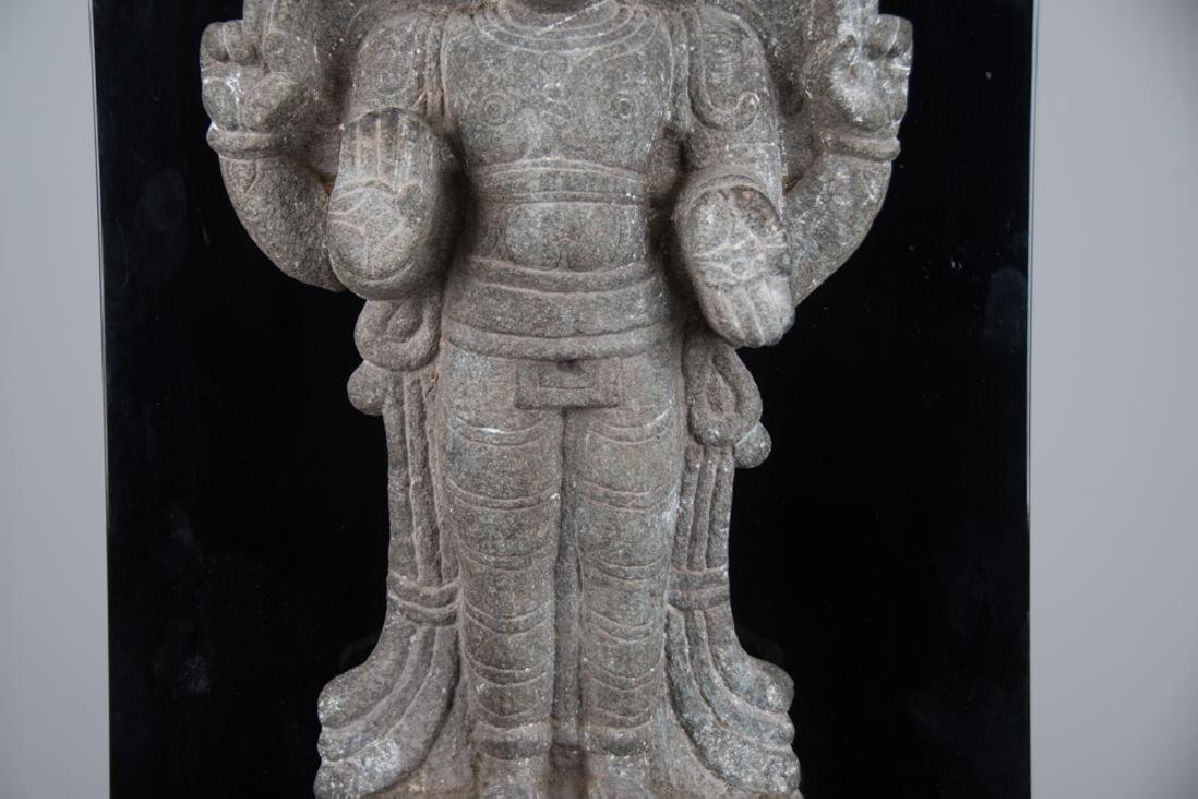 INDIAN CARVED STONE FIGURE OF A DEITY - 5