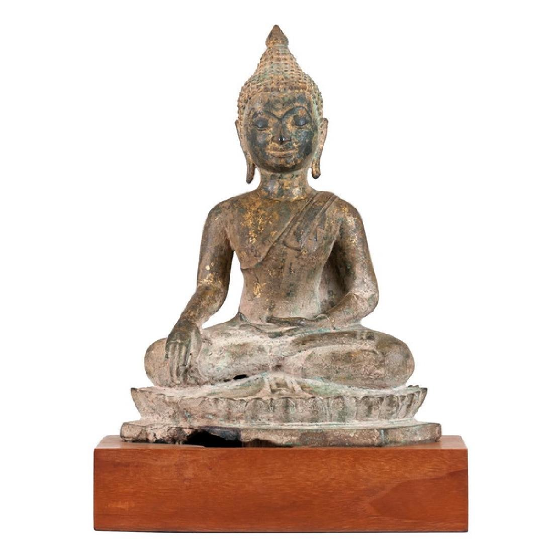 GILT BRONZE SEATED BUDDHA