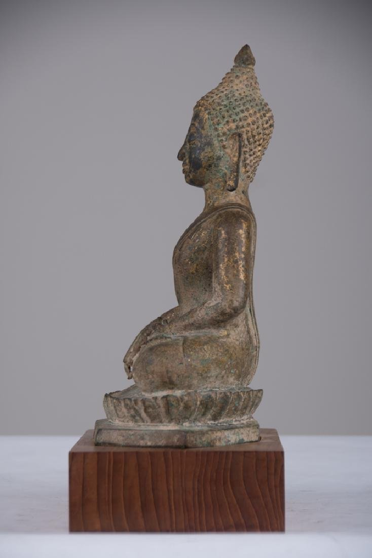 GILT BRONZE SEATED BUDDHA - 2