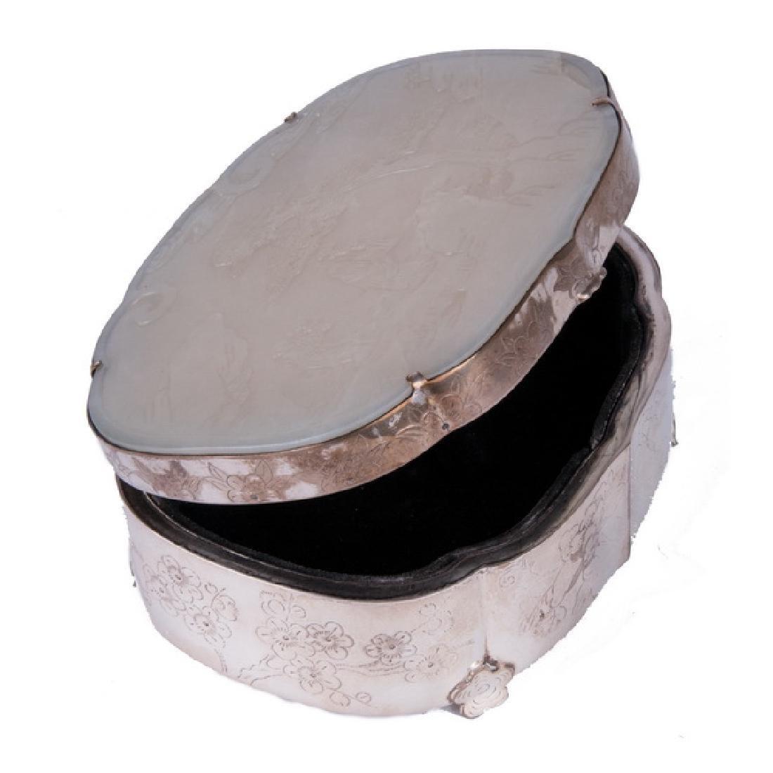 CHINESE WHITE JADE & SILVER BOX