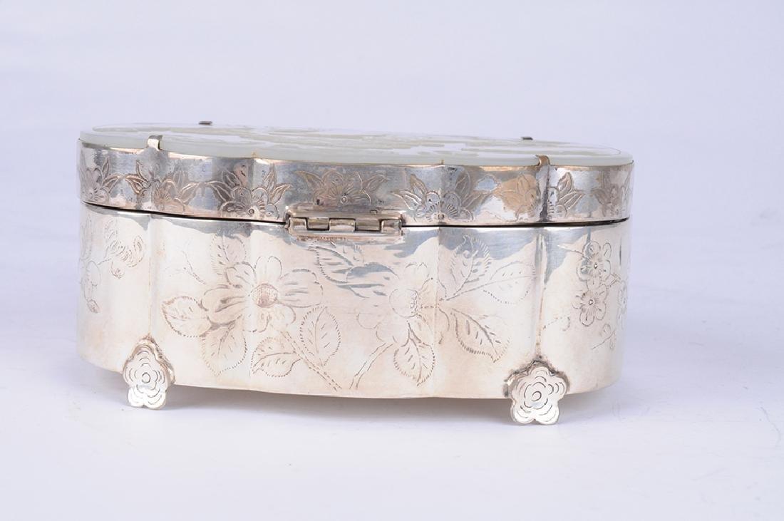 CHINESE WHITE JADE & SILVER BOX - 3