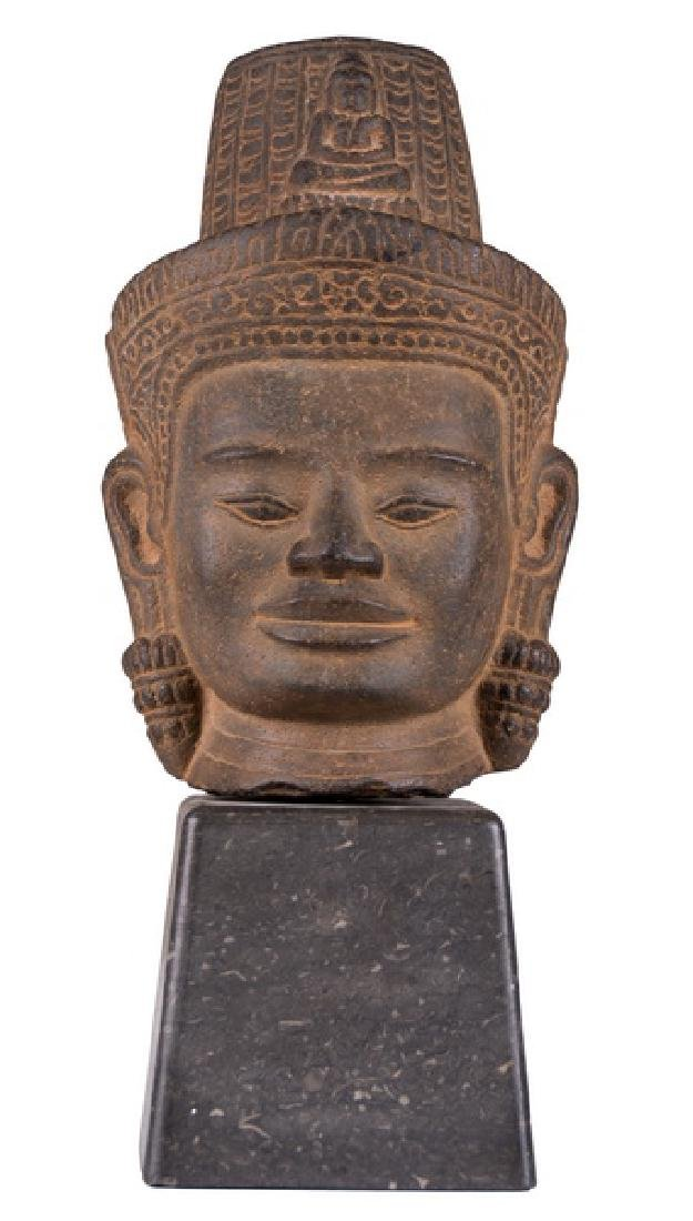 KHMER STONE HEAD OF BUDDHA