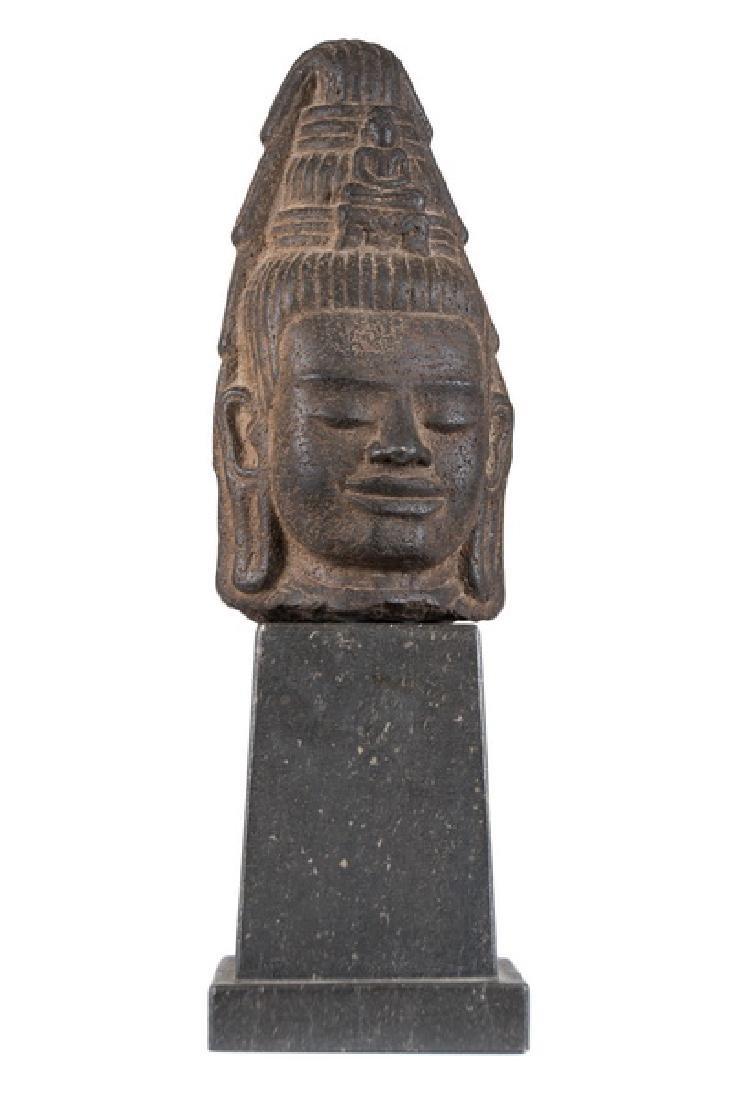KHMER STONE HEAD OF LOKESVARA