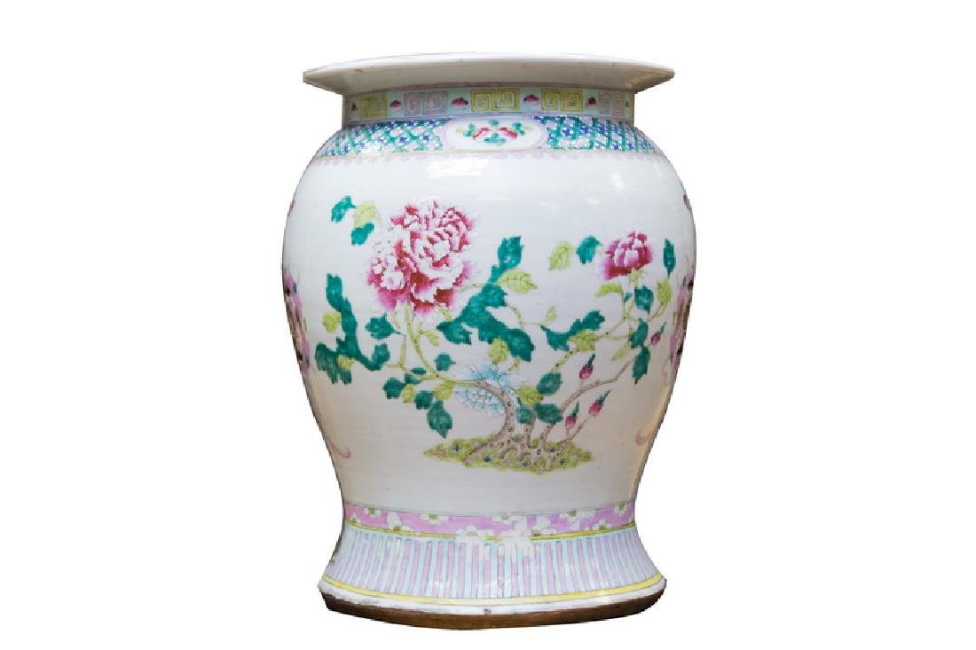 "CHINESE PORCELAIN ""FAMILLE ROSE"" GARDEN SEAT"