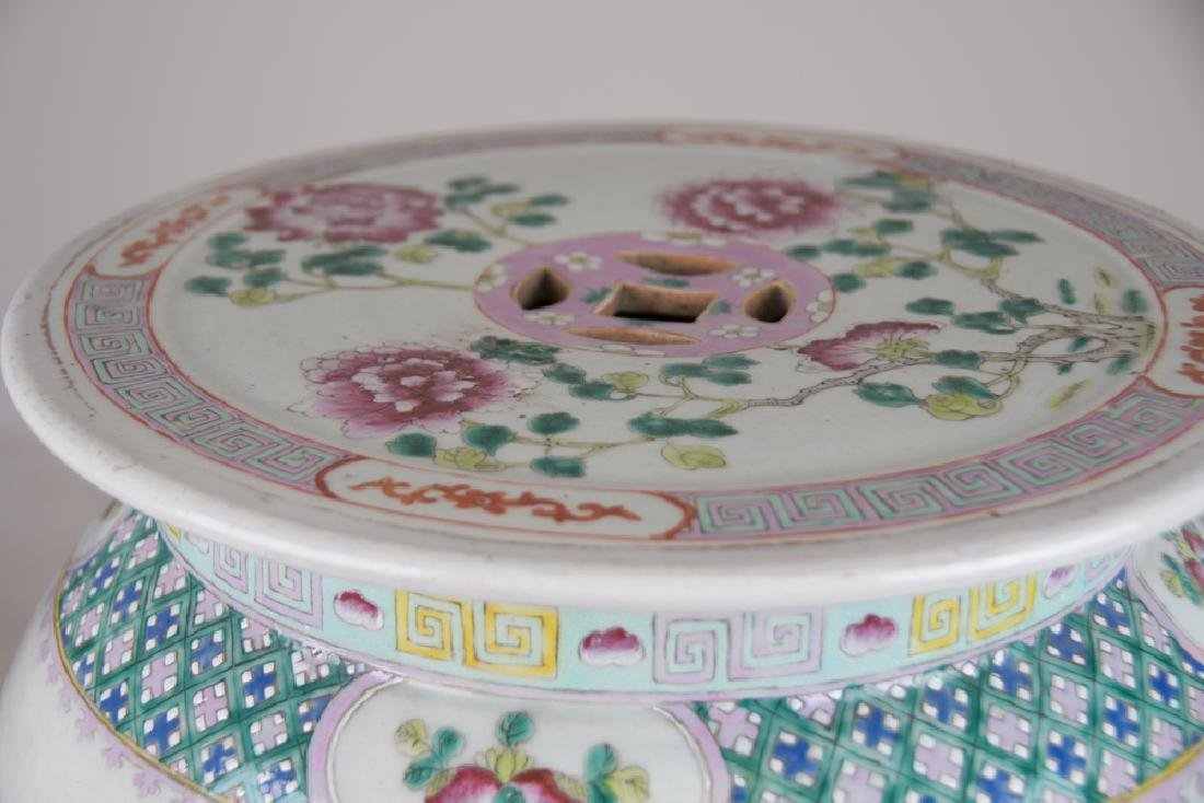 "CHINESE PORCELAIN ""FAMILLE ROSE"" GARDEN SEAT - 6"