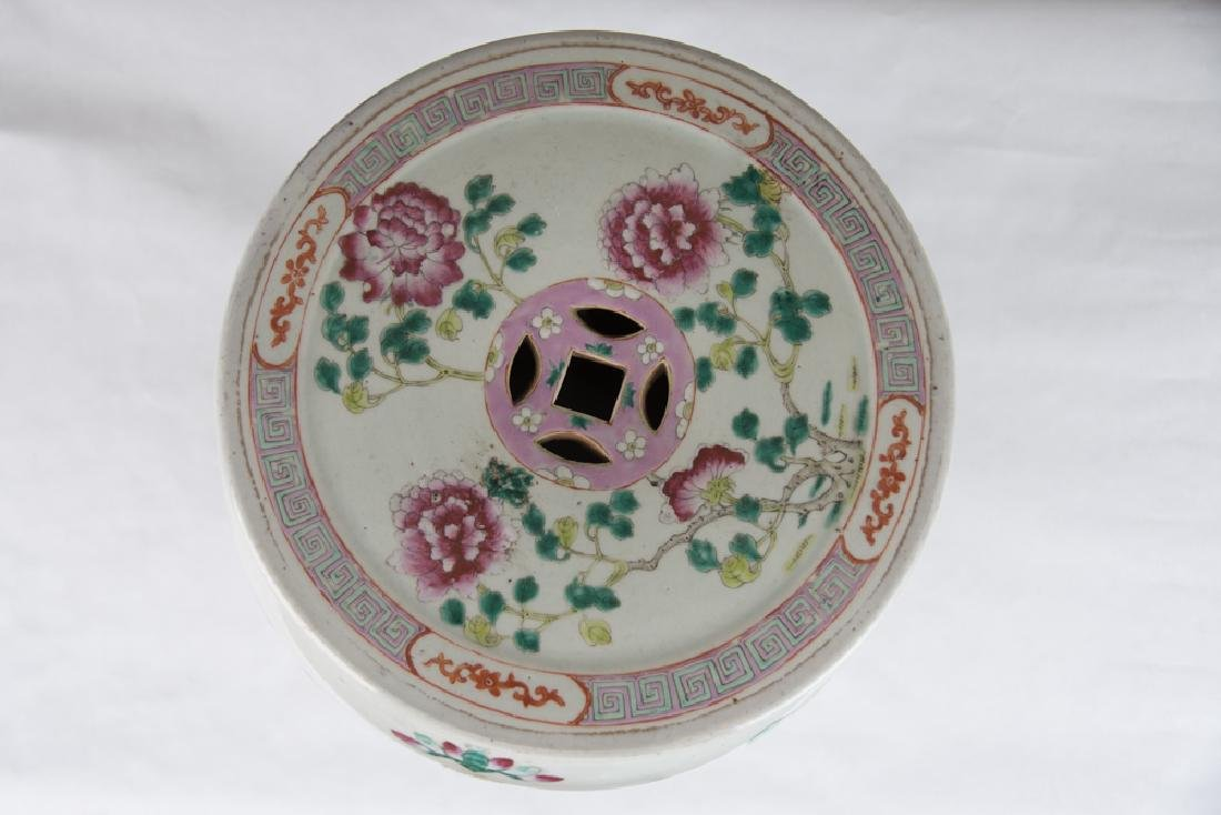 "CHINESE PORCELAIN ""FAMILLE ROSE"" GARDEN SEAT - 7"