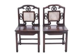 SET OF EIGHT CHINESE HARDWOOD & MARBLE INSET CHAIRS