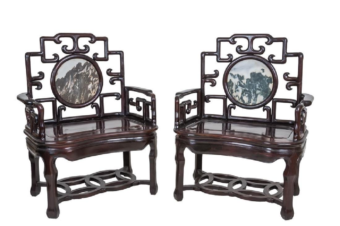 PAIR OF CHINESE HARDWOOD & MARBLE INSET CHAIRS