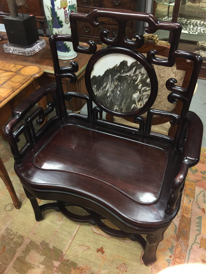 PAIR OF CHINESE HARDWOOD & MARBLE INSET CHAIRS - 9
