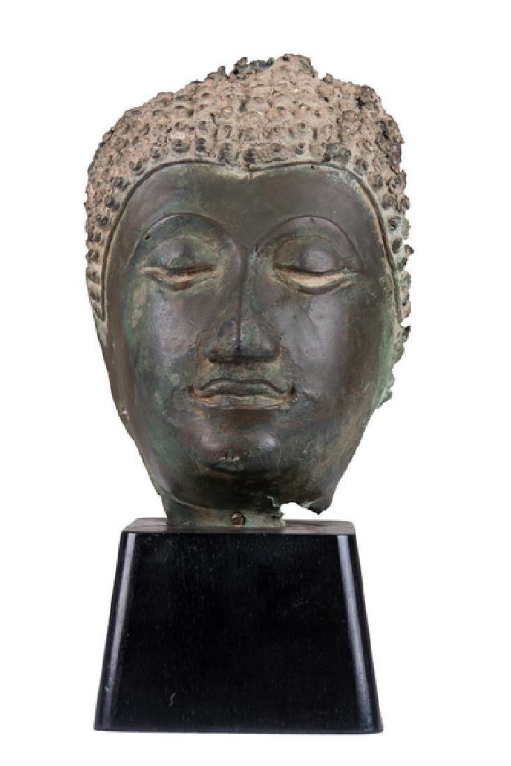 THAI BRONZE HEAD OF A BUDDHA