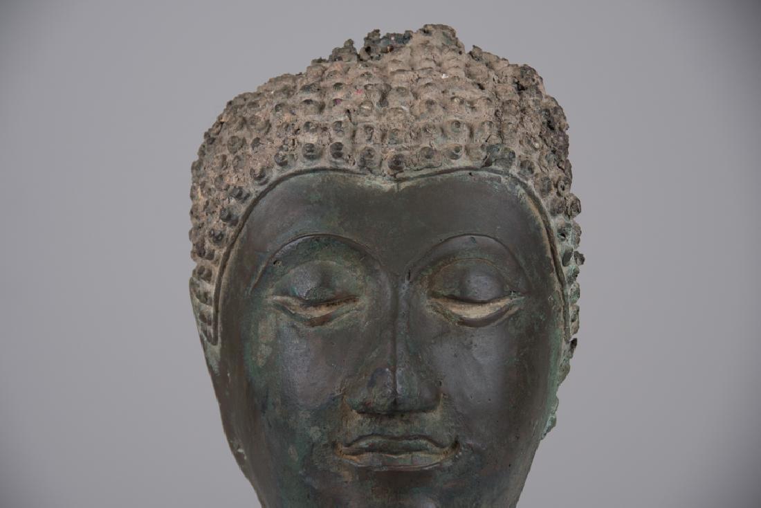 THAI BRONZE HEAD OF A BUDDHA - 6