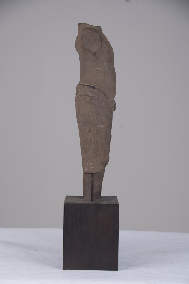 KHMER BUFF SANDSTONE TORSO OF BUDDHA - 4