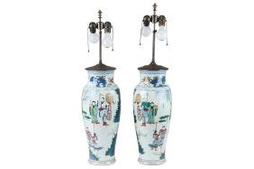 Pair Of Chinese Wucai Baluster Vases
