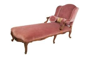 LOUIS XV PROVINCIAL CARVED WALNUT CHAISE