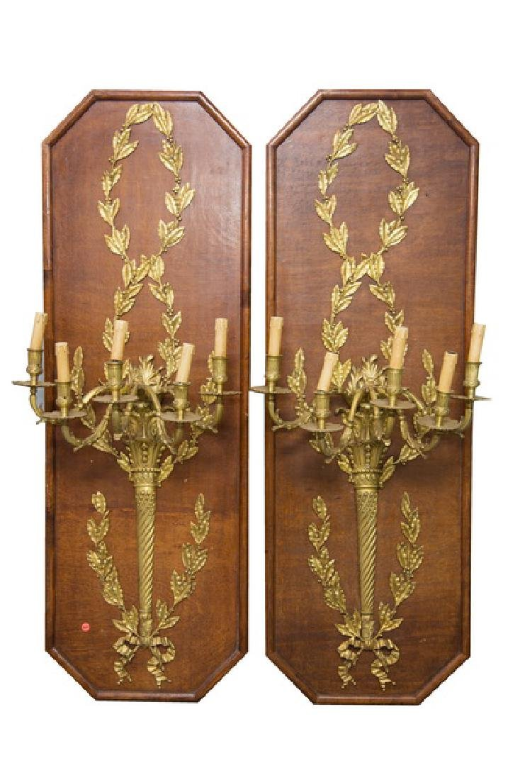PAIR OF LOUIS XVI STYLE GILT BRONZE SCONCES