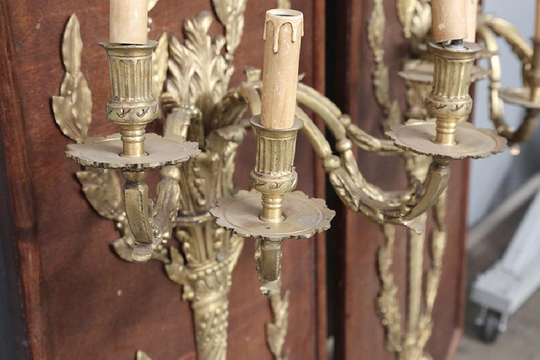 PAIR OF LOUIS XVI STYLE GILT BRONZE SCONCES - 2